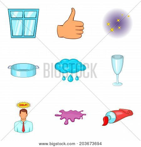 Cleaning service solution icon set. Cartoon set of 9 cleaning service solution vector icons for web design isolated on white background