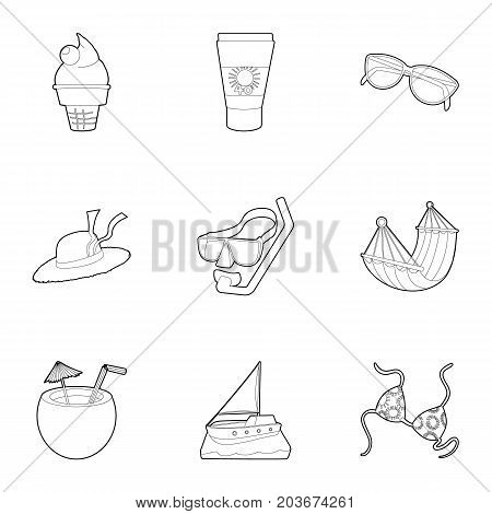Water recreation icons set. Outline set of 9 water recreation vector icons for web isolated on white background