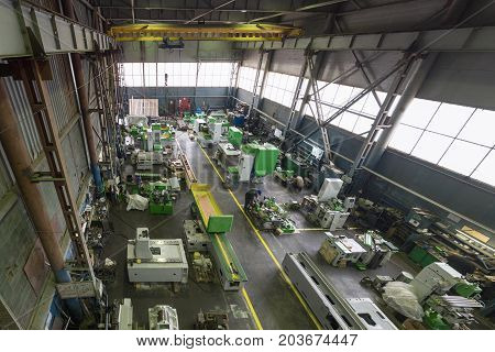 Manufacture of metalworking machines. Modern machine-building enterprise. View from the top point.