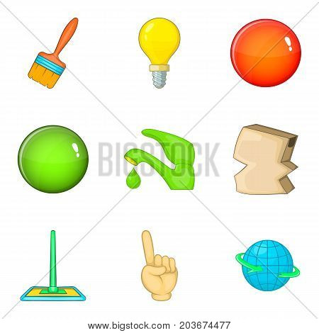 Housework service icon set. Cartoon set of 9 housework service vector icons for web design isolated on white background