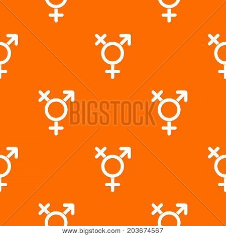 Transgender sign pattern repeat seamless in orange color for any design. Vector geometric illustration