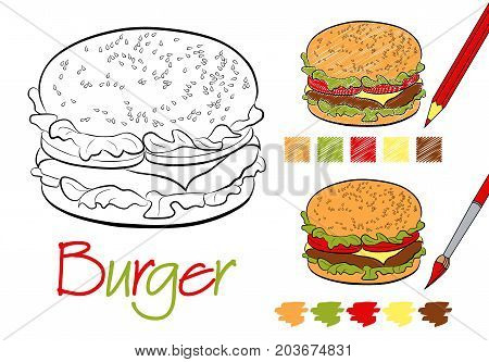 Hamburger black and white vector illustration for children and adults. Coloring page for the book. Examples of coloring with a pencil and paints. Hand-drawn style. Closed contours. Five color samples.
