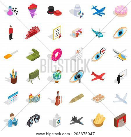 Mission icons set. Isometric style of 36 mission vector icons for web isolated on white background