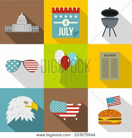 American patriotic day icon set. Flat style set of 9 american patriotic day vector icons for web design
