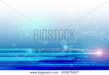 Vector Abstract science futuristic energy technology concept. Digital image of light rays, stripes lines with blue light speed and motion blur over dark blue background