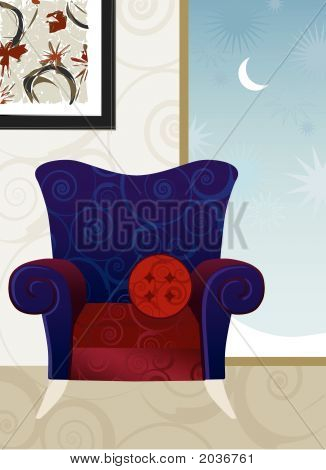 Velvet Armchair Winter Night