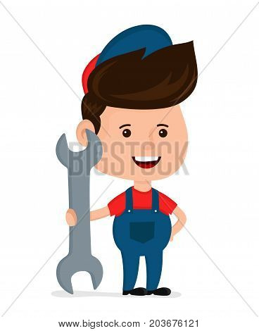 Cute happy smiling young service man hold big spanner.Vector modern flat style cartoon character illustration. Isolated on white background.handyman wearing work clothes. Mechanic Service concept