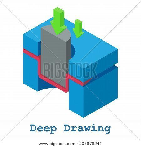 Deep drawing metalwork icon. Isometric illustration of deep drawing metalwork vector icon for web