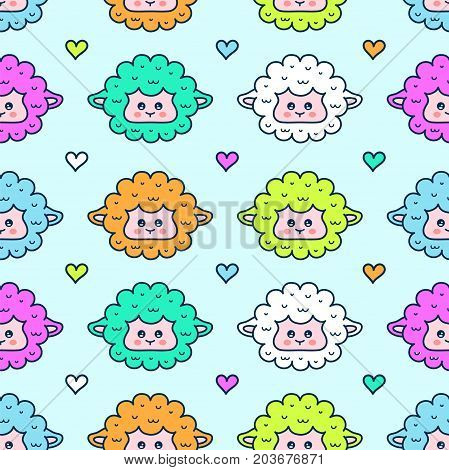Cute sheep. lamb face seamless pattern. Vector modern line outline flat style cartoon character illustration. Isolated on blue background. hearts and sheep face