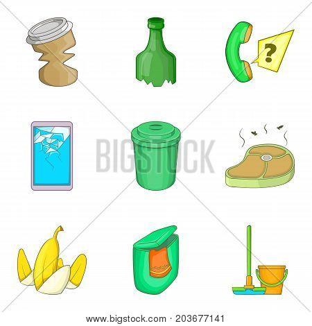 Garbage service cleaning icon set. Cartoon set of 9 garbage service cleaning vector icons for web design isolated on white background