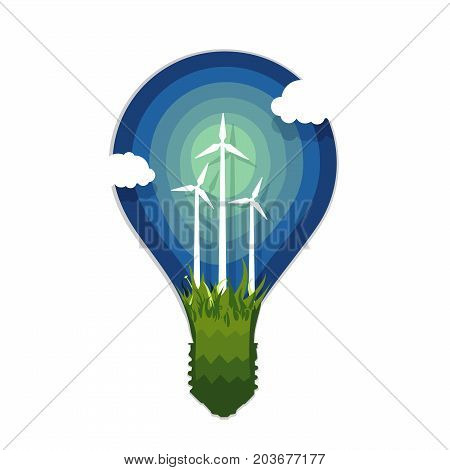 Ecology poster. Silhouette of lamp with wind power generation. Application paper style.