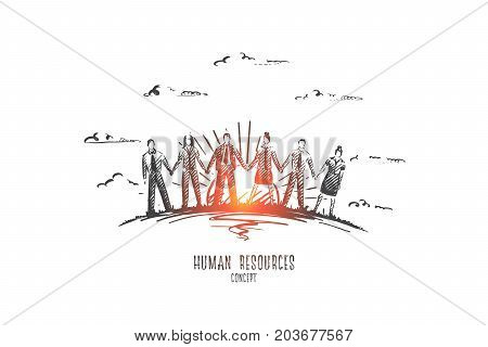 Human resources concept. Hand drawn male and female persons holding hands. People employees isolated vector illustration.