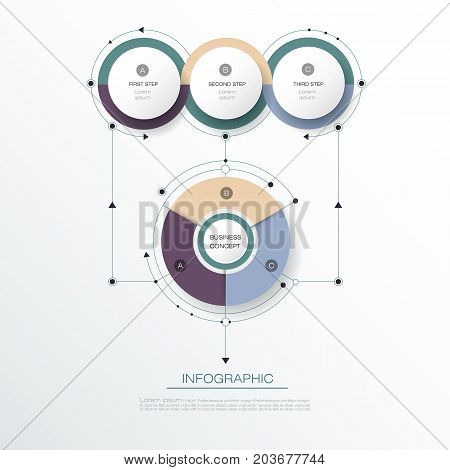 Vector Infographic 3D circle label design with arrows sign and 3 options or steps. Can be used for business, infograph template, process infographics, diagram chart, flowchart,  processes diagram, time line