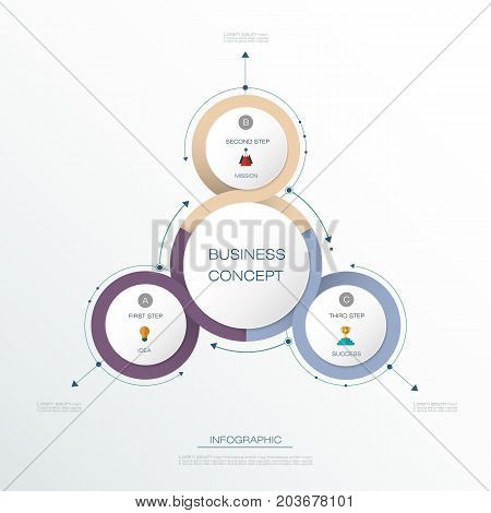 Vector Infographic 3D circle label design with arrows sign and 3 options or steps. Can be used for business, infograph template, process infographics, diagram chart, flowchart ,processes diagram, time line