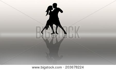 couple in love dancing on the mirror floor.