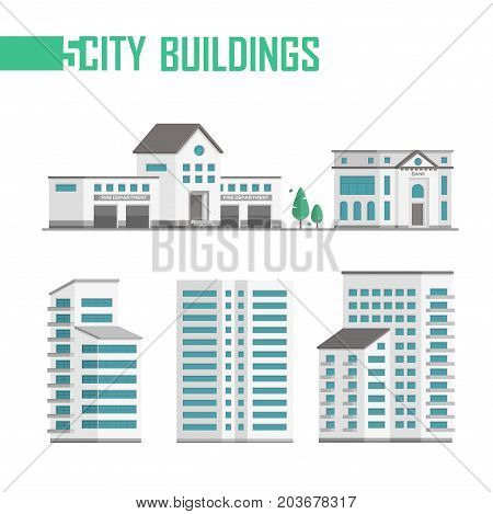 Five city buildings set of icons - vector illustration isolated on white background. Fire department, bank, two trees, three skyscrapers. Grey roofs and blue windows