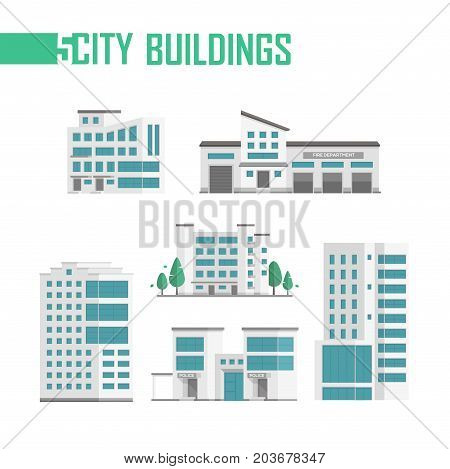 Five city buildings set of icons - vector illustration isolated on white background. Fire department, police station, trees, four skyscrapers. Grey roofs and blue windows