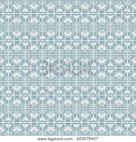 Lacy ornamental seamless pattern background in white and blue gray colors vector illustration