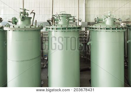 Industrial filter unit. Massive cylindrical filter columns.