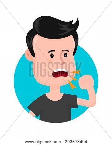 Young sick man cough. Sore throat. Vector modern flat style cartoon character illustration. Isolated on white background