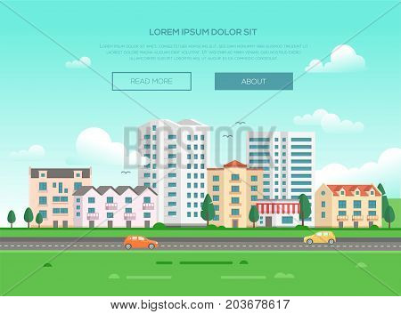 Cityscape with a road - modern vector illustration with place for text. Nice town or city with skyscrapers and small low storey buildings and houses, trees, green grass, cars, birds in the sky