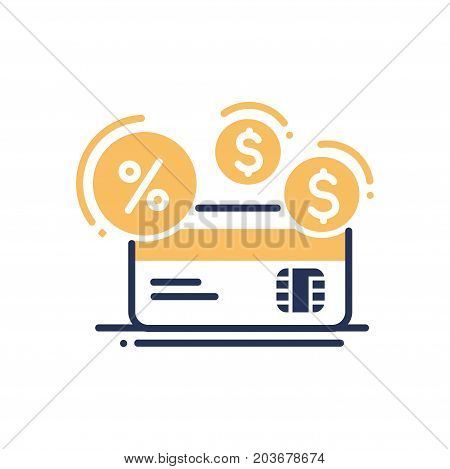 Credit - modern vector single line design icon. Banking system sign, yellow credit card, dollar and percentage, interest symbol. Business, finance, payment method object