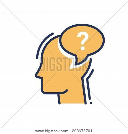 Ask - modern vector single line design icon. An image of a human head silhouette in profile, word bubble with a question mark, golden color. Use it for FAQ presentation.