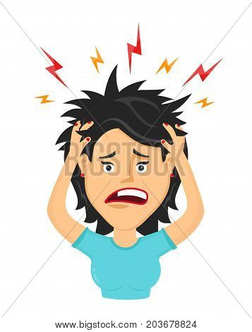 Vector flat woman with a headache, compassion fatigue, disease of the head, an office worker woman holding his head. migraine, health problems and pain head, stress work, tired, suffer, emotion