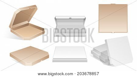Blank carton pizza boxes - modern vector isolated clip art on white background. Six open and close blank cardboard realistic containers to take away. Empty packaging isometric template