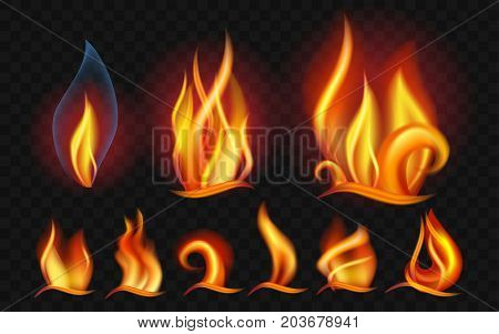 Set of flames - modern vector realistic isolated clip art on transparent background. Burning big, small orange, yellow, red fires of different shapes and forms. Concept of energy, danger, power