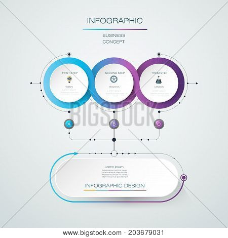 Vector Infographic label design with icons and 3 options or steps. Infographics for business concept. Can be used for presentations, banner, workflow, layout, process diagram, flow chart, info graph