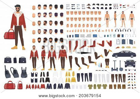 Caucasian man creation set or DIY kit. Collection of flat cartoon character body parts, facial gestures, hairstyles, clothing isolated on white background. Vector illustration. front, side, back view