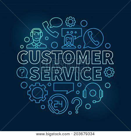 Blue customer service round illustration - vector customer support and care concept circular linear symbol on dark background