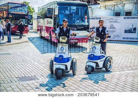 ISTANBUL, TURKEY: Security police officers of Fatih district in city center, square Sultanahmet on October 2, 2014