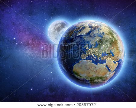 Galaxy universe planet Earth and Moon. Elements of this image furnished by NASA. 3D rendering. Stars and space my own astrophoto