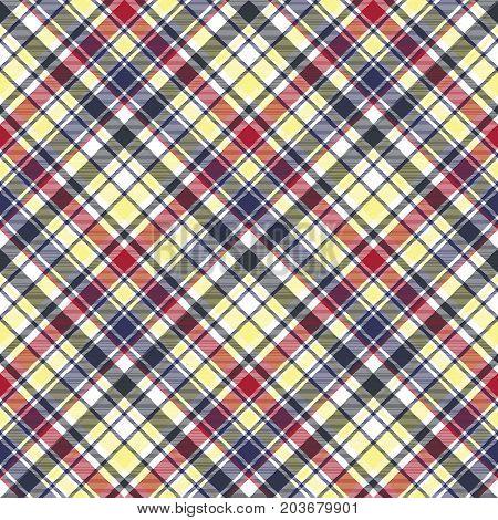 Check plaid tartan fabric texture seamless pattern. Vector illustration.