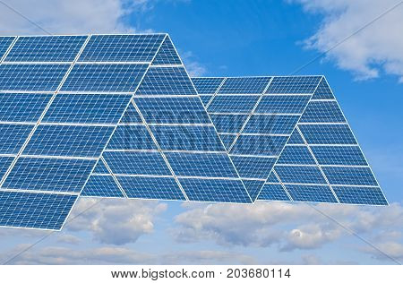 Solar panel photomontage against blue sky with clouds.Green energy. Renewable energies.