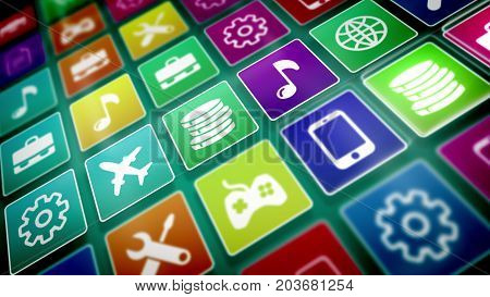 Mobile Application Icons Presented Askew