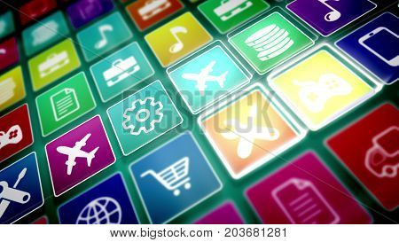 Mobile Application Icons Taken Aslant