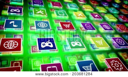 Mobile Application Icons Shot Diagonally