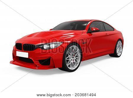 Red Sedan Car isolated on white background. 3D render