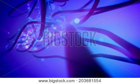 Abstract Tubes And Spheres In The Blue Background