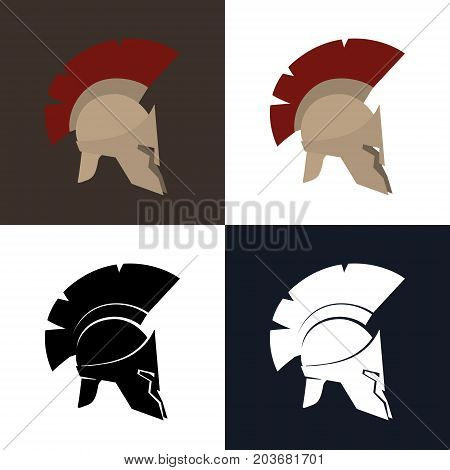 Set of Four Kind Roman Helmet Color and Silhouette Antiques Greek Helmet for Head Protection Legionnaire with a Crest of Feathers or Horsehair Vector Illustration