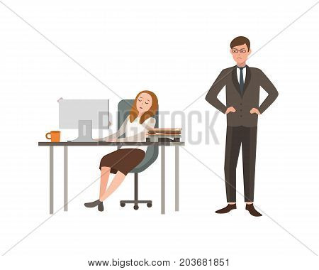 Woman office worker sits at desk with computer and sleeps, her boss angrily looks at him. Concept of fatigue at work. Cartoon vector illustration.