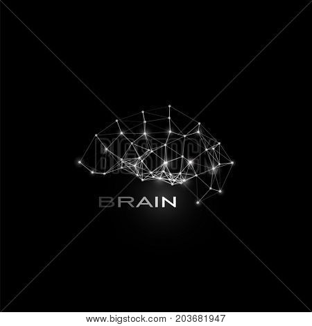 White isolated lines and dots brain, vector shape, polygonal artificial intelligence, data base logo on black cosmic space background