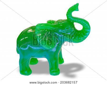green Jade Elephant isolated on white background.
