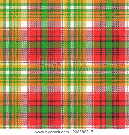 Madras plaid seamless fabric texture. Vector illustration.