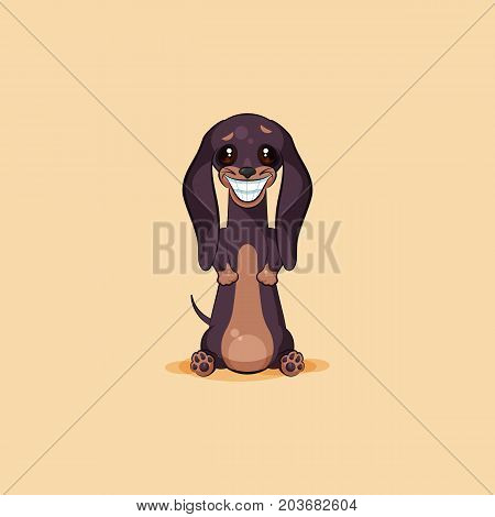Vector stock illustration emoji of cartoon character dog talisman, phylactery hound, mascot pooch bowwow dachshund sticker emoticon German badger-dog broad smile from ear to ear emotion design element