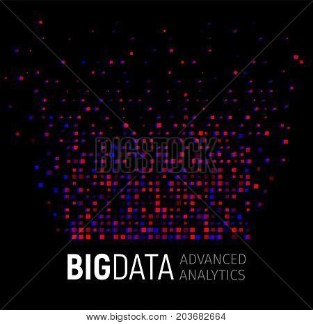 Big data abstract vector visualization. Lines and dots array. Big data connection complex. Graphic fractal element background. Vector illustration