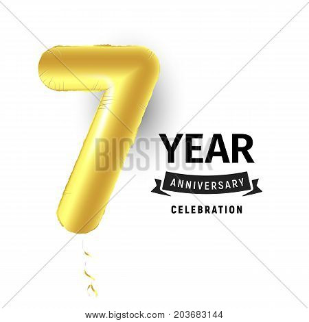 Inflatable golden ball one year with symbol 7. Vector illustration or poster for seventh birthday celebrating of a child, business, anniversary